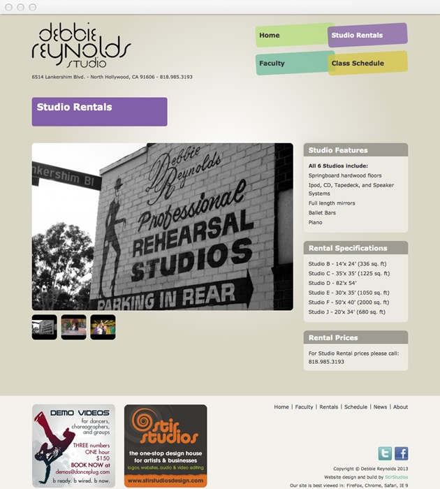 StirStudios Web Portfolio | Debbie Reynolds Dance Studio