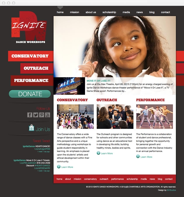 StirStudios Web Portfolio | Ignite Dance Workshops