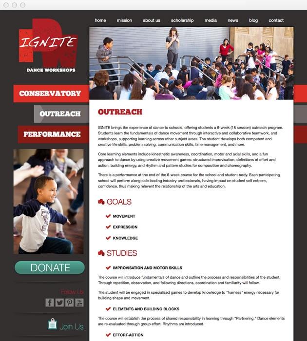 StirStudios Web Portfolio | Ignite Dance Workshops