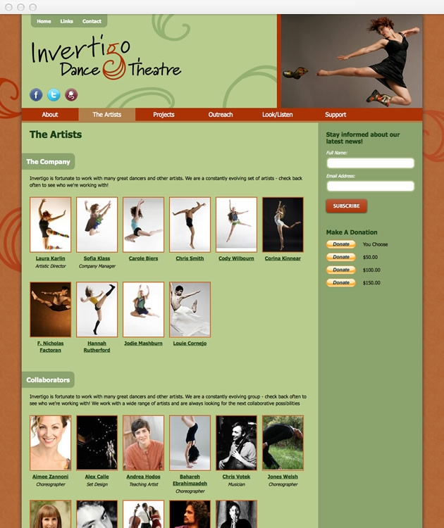 StirStudios Web Portfolio | Invertigo Dance Theatre