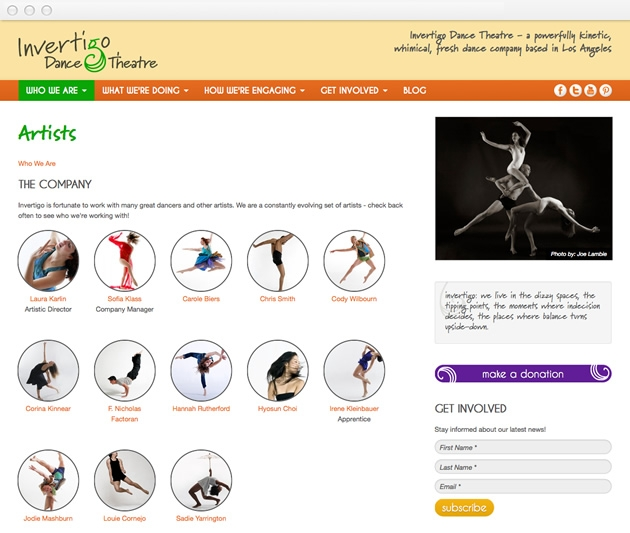 StirStudios Web Portfolio | Invertigo Dance Theatre