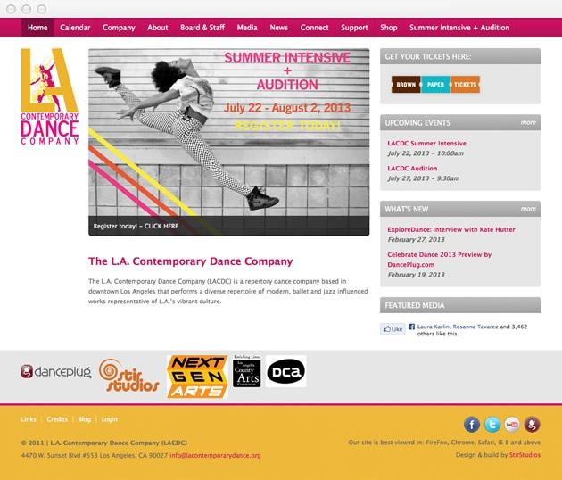 StirStudios Web Portfolio   Los Angeles Contemporary Dance Company
