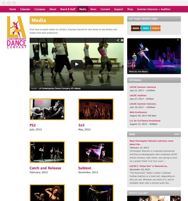 StirStudios Web Portfolio | Los Angeles Contemporary Dance Company