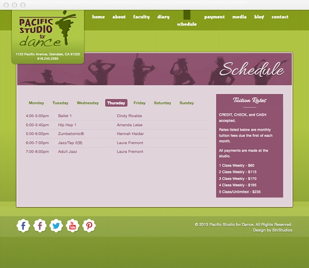 StirStudios Web Portfolio   Pacific Studio for Dance