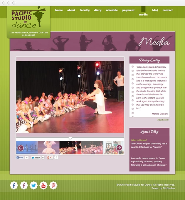 StirStudios Web Portfolio | Pacific Studio for Dance
