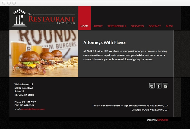 StirStudios Web Portfolio | The Restaurant Law Firm