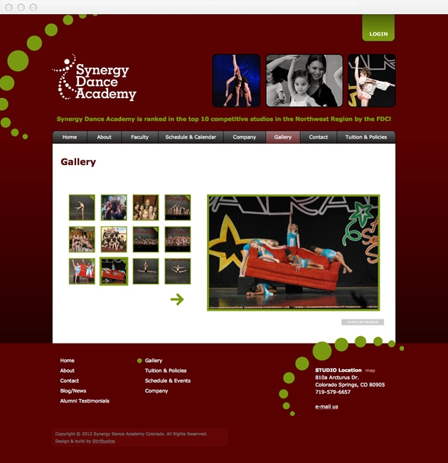 StirStudios Web Portfolio   Synergy Dance Academy
